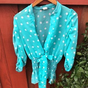 Rockabilly turquoise and white polka dot blouse
